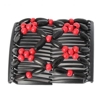 Trend African Hairclip Haarklammer Haarkamm Blüten Holzdesign Rot - 2