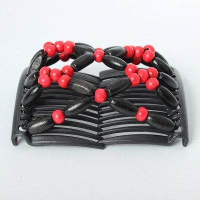Trend African Hairclip Haarklammer Haarkamm Blüten Holzdesign Rot - 4