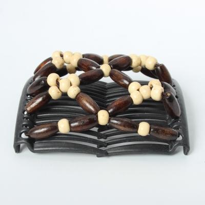 Trend African Hairclip Haarklammer Haarkamm Blüten Holzdesign Weiß - 4