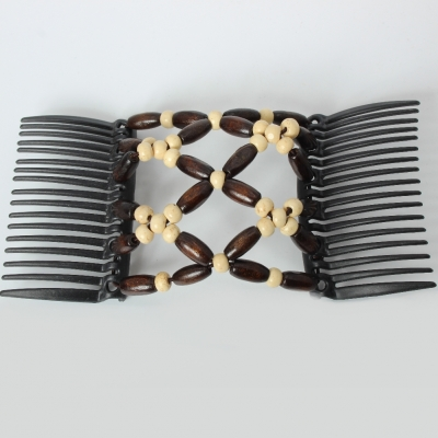 Trend African Hairclip Haarklammer Haarkamm Blüten Holzdesign Weiß - 5
