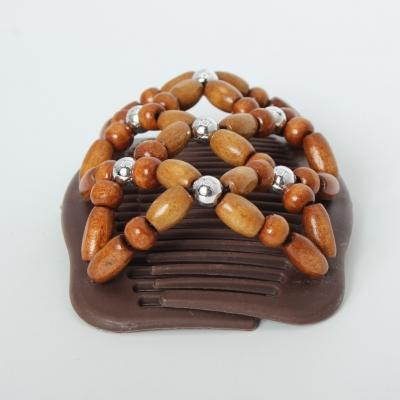 Trend African Hairclip Haarklammer Haarkamm Blüten Holzdesign Braun - 1