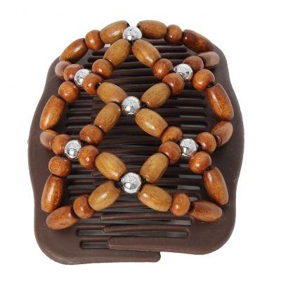 Trend African Hairclip Haarklammer Haarkamm Blüten Holzdesign Braun - 2