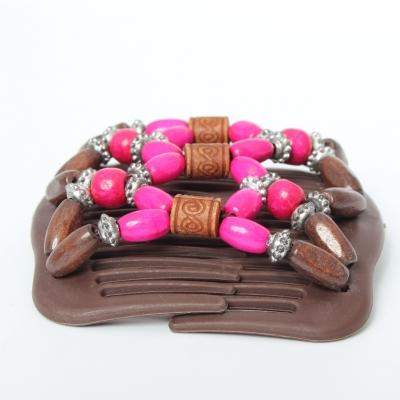 Trend African Hairclip Haarklammer Haarkamm Blüten Holzdesign Pink - 1