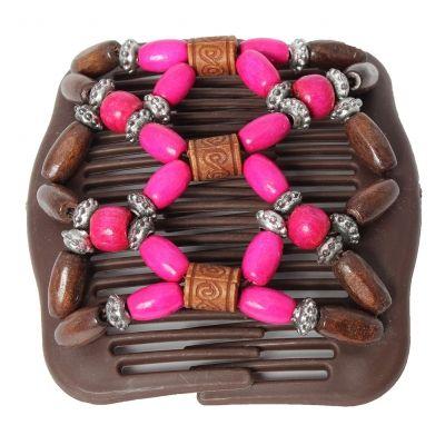 Trend African Hairclip Haarklammer Haarkamm Blüten Holzdesign Pink - 2