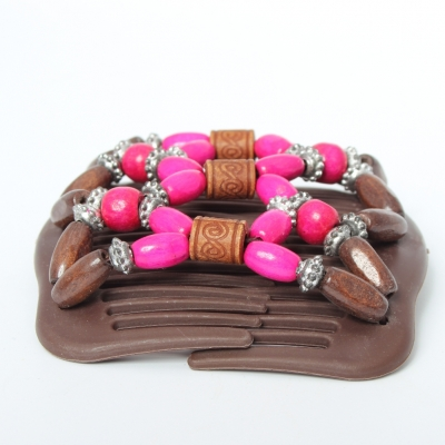 Trend African Hairclip Haarklammer Haarkamm Blüten Holzdesign Pink - 3