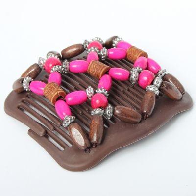 Trend African Hairclip Haarklammer Haarkamm Blüten Holzdesign Pink - 4