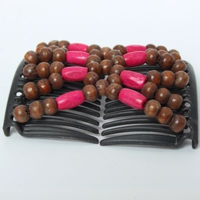 Trend African Hairclip Haarklammer Haarkamm Blüten Holzdesign Pink Braun - 1
