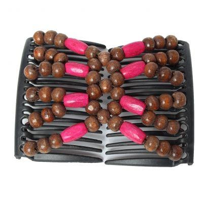 Trend African Hairclip Haarklammer Haarkamm Blüten Holzdesign Pink Braun - 2