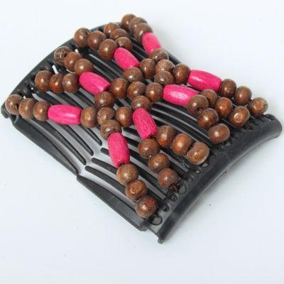 Trend African Hairclip Haarklammer Haarkamm Blüten Holzdesign Pink Braun - 3
