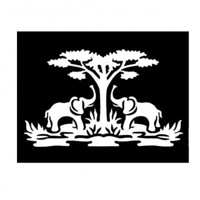 Henna Tattoo Schablone Airbrush Stencil Selbstklebend Elefanten - 1