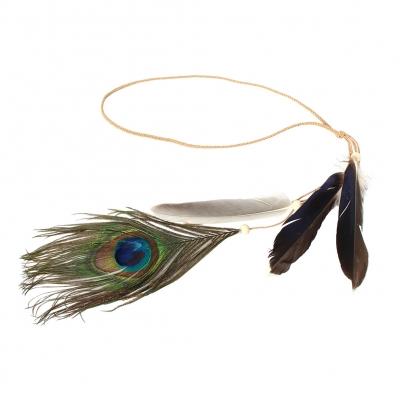 Geflochtenes Haarband Haarkette mit Pfau Feder - 1