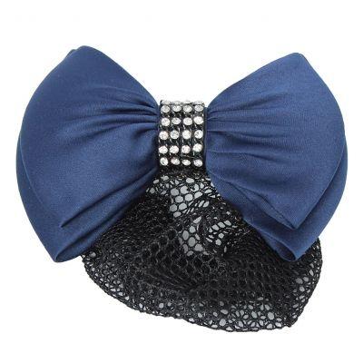 Haarclip mit Haarnetz mit Strass Steinen Schleife Blau - 2