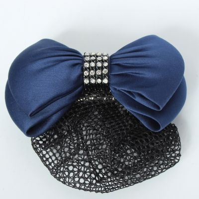 Haarclip mit Haarnetz mit Strass Steinen Schleife Blau - 3