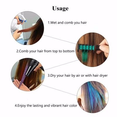 Haarkreide Kamm Temporär Haarfarbe Kreide Kamm ideal für Fasching Festivals Alle 6 Farben - 1