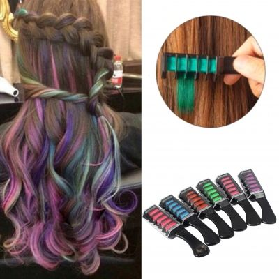 Haarkreide Kamm Temporär Haarfarbe Kreide Kamm ideal für Fasching Festivals Alle 6 Farben - 2