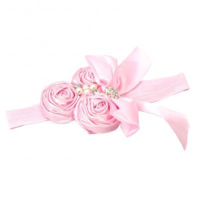 Süßes Mädchen Haarband mit Strass und Perlen - 1