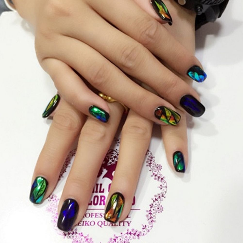 Nail Art Nagelfolie Nagel Hologramm Broken Glass Fuu00df Tattoo | EBay