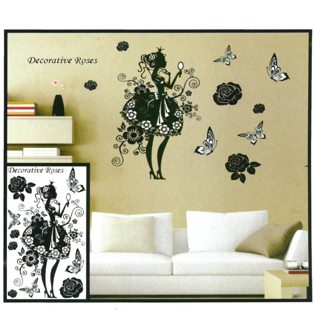 3d prinzessin wanddeko wandtattoo wandaufkleber. Black Bedroom Furniture Sets. Home Design Ideas