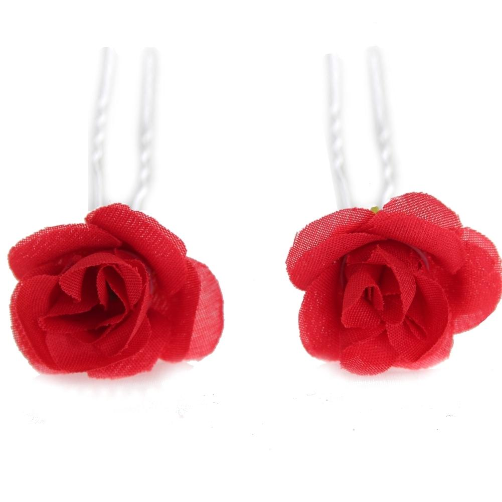 2 rosen haarnadeln braut kommunion hochzeit blumen haarschmuck rot der onlineshop. Black Bedroom Furniture Sets. Home Design Ideas