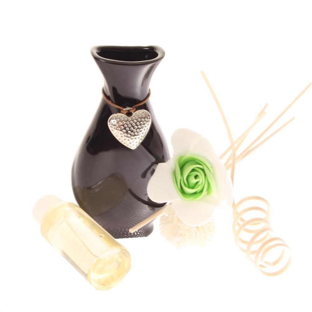 duft l aroma l blumen st bchen deko keramik vase mit herzanh nger 30 ml ebay. Black Bedroom Furniture Sets. Home Design Ideas