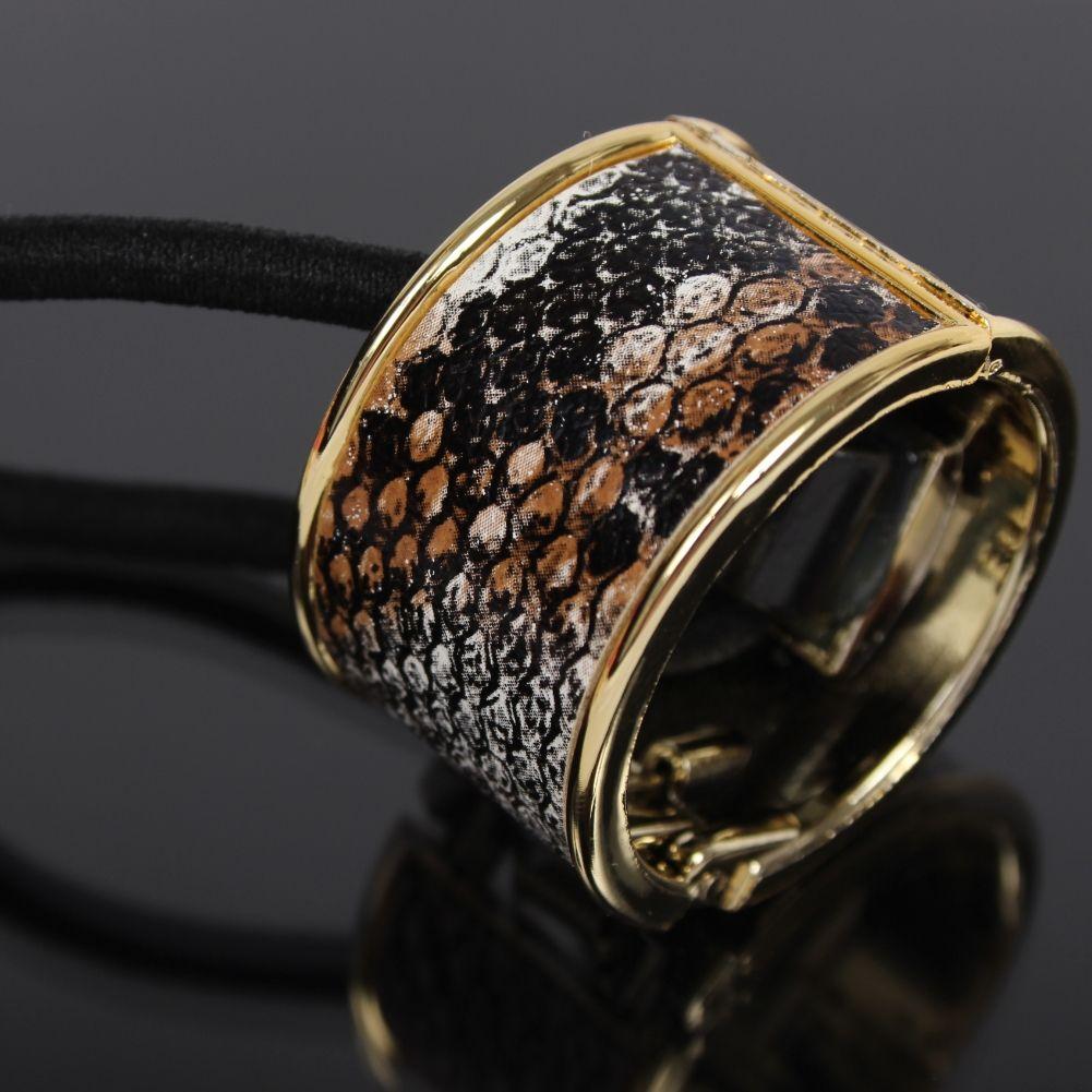 Haargummi Ring Cleopatra Zopf Scrunchy Pferdeschwanz Haarrring Leopard Schlange