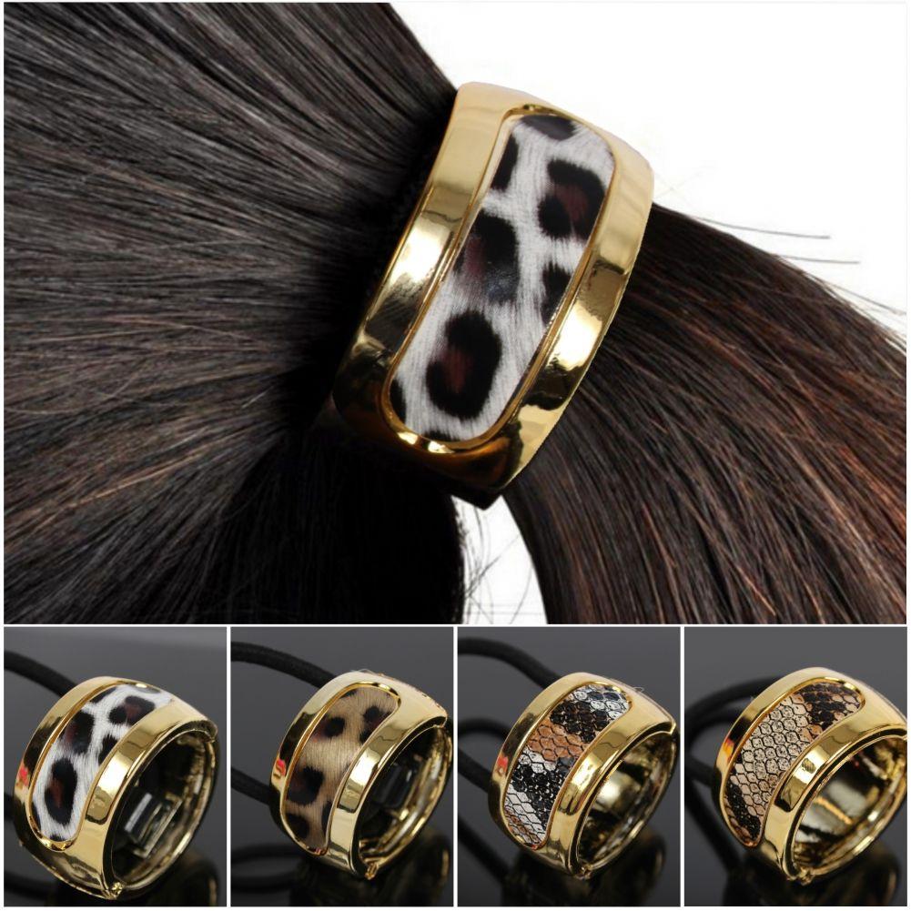 Haargummi Ring Zopf Scrunchy Pferdeschwanz Haarring Hair Cleopatra Leopard