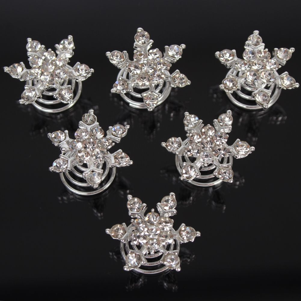 6 strass curlies braut kommunion hochzeit haarschmuck stern blume ebay. Black Bedroom Furniture Sets. Home Design Ideas