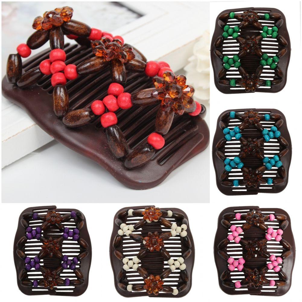 Trend African Hairclip Haarklammer Haarspange Butterfly Holzdesign mit Blume