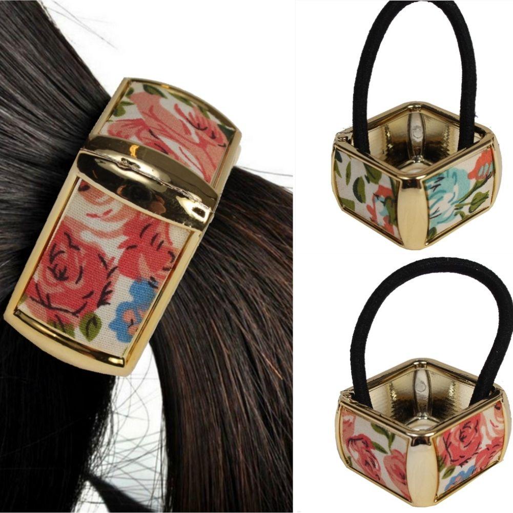 Haargummi Quadratisch Marmor-Look Zopf Scrunchy Pferdeschwanz Haarring Hair