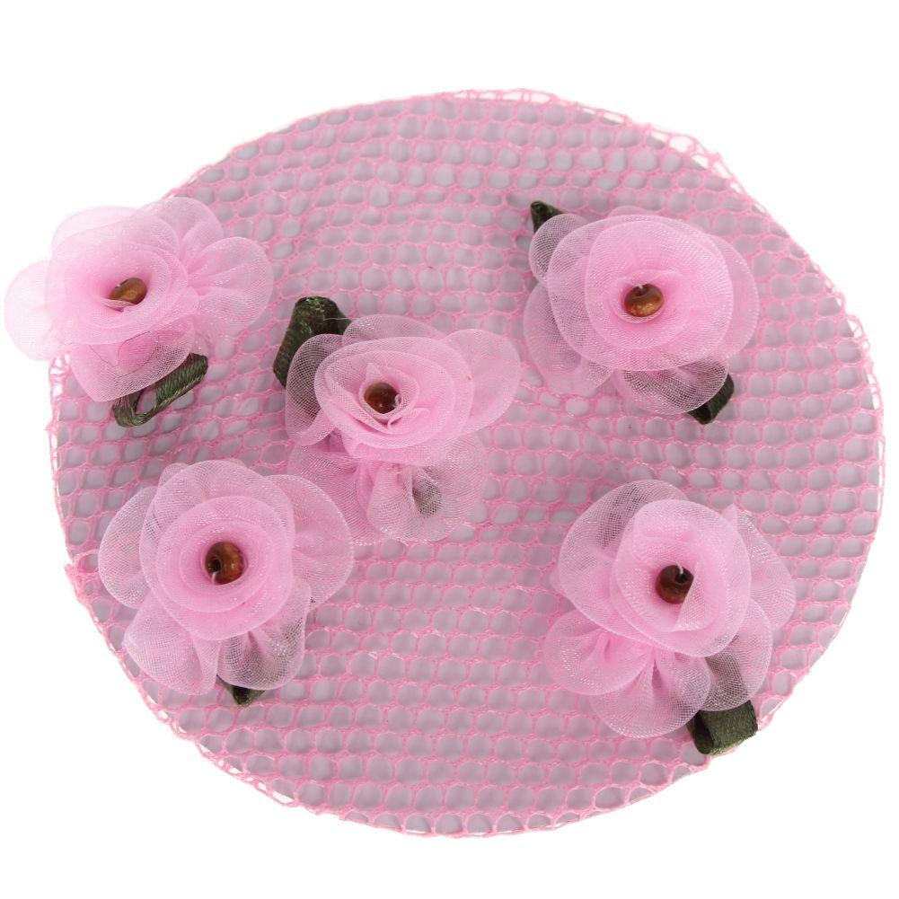 rosa feinmaschig mit Blüten