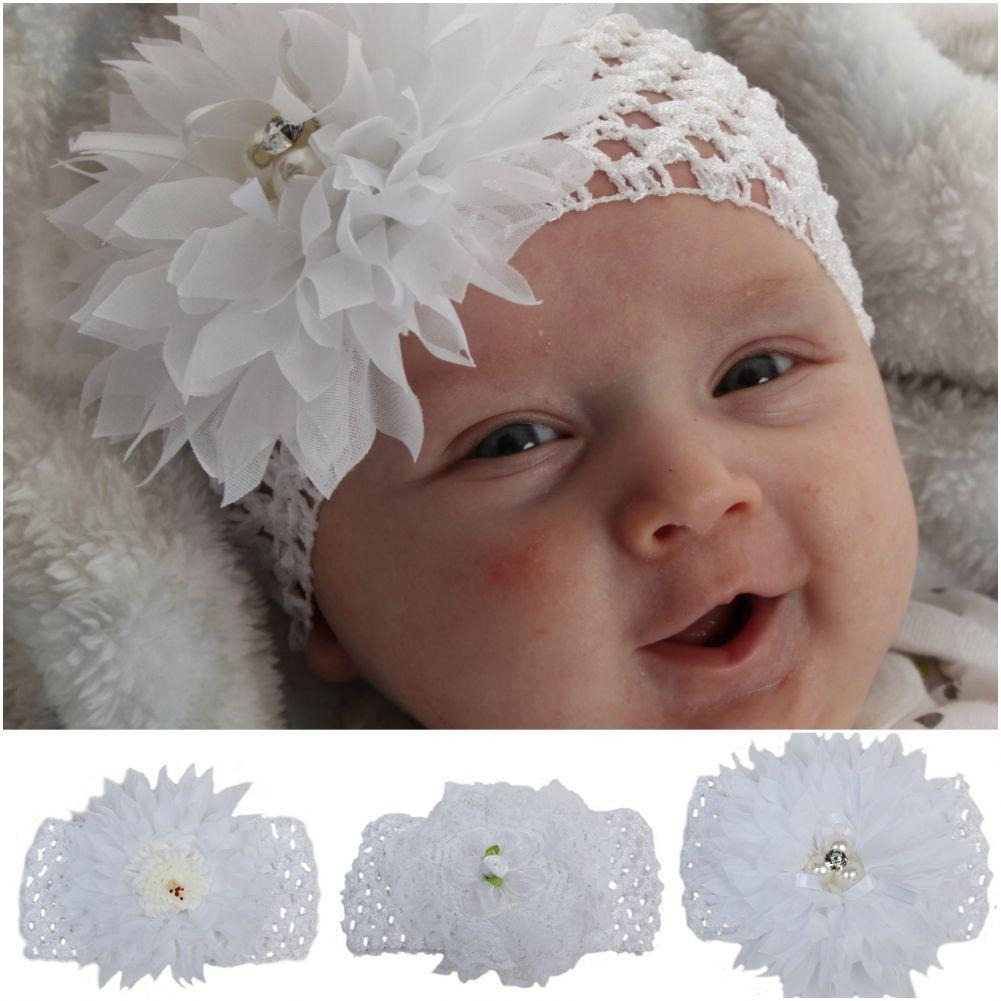 Baby Accessories Baby & Kinder Haarband Weiß Schleife Kopfband Stirnband Taufe Fest Neu