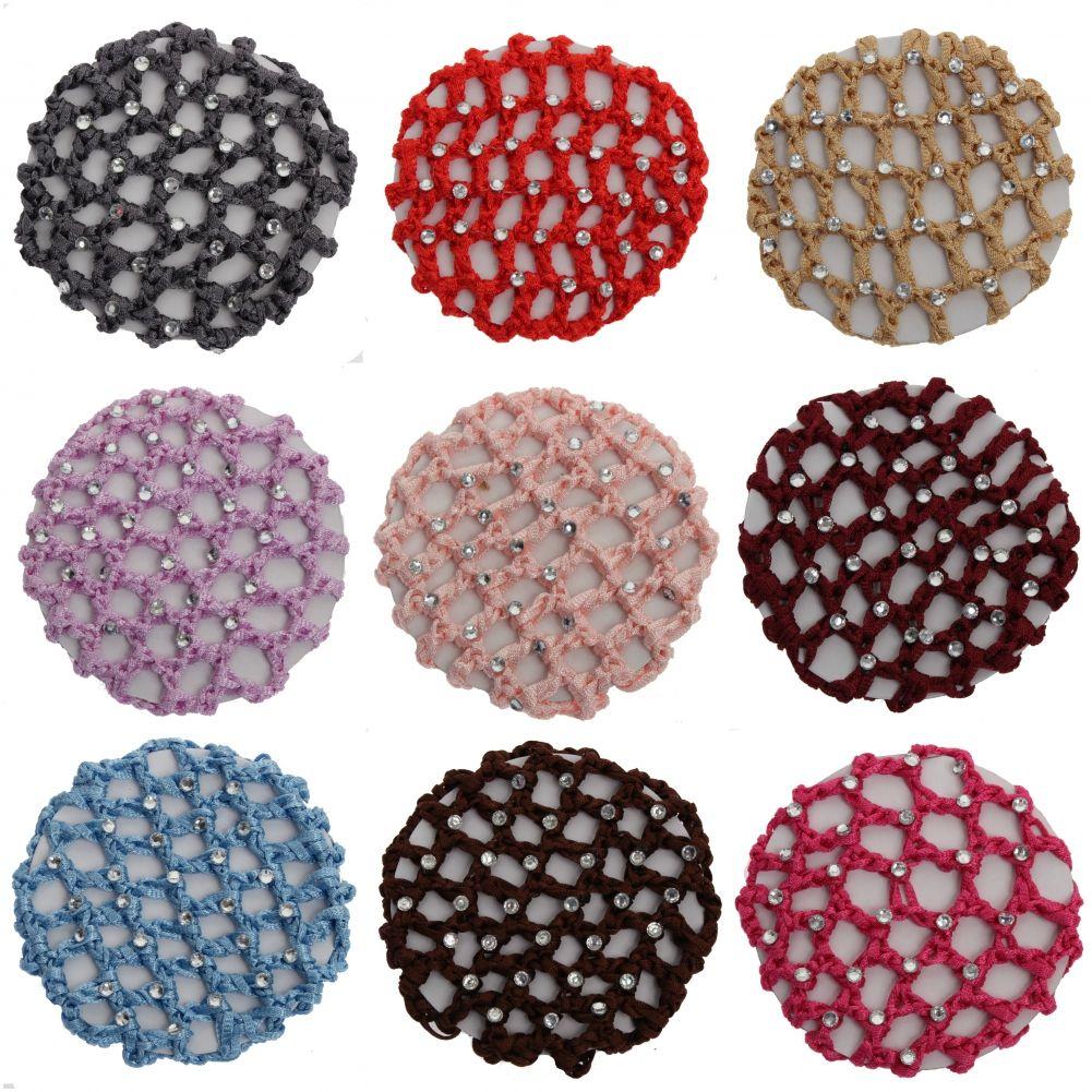 dutt netz haarnetz bun ballett haar frisurenhilfe stoff knotennetz mit strass ebay. Black Bedroom Furniture Sets. Home Design Ideas
