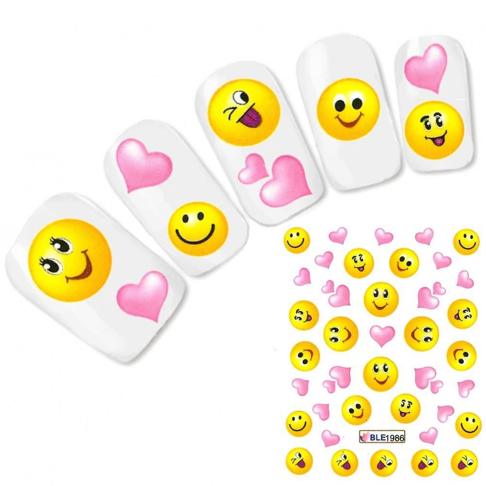 Nagel Sticker Nail Art Smiley Herz Heart Aufkleber Water ...