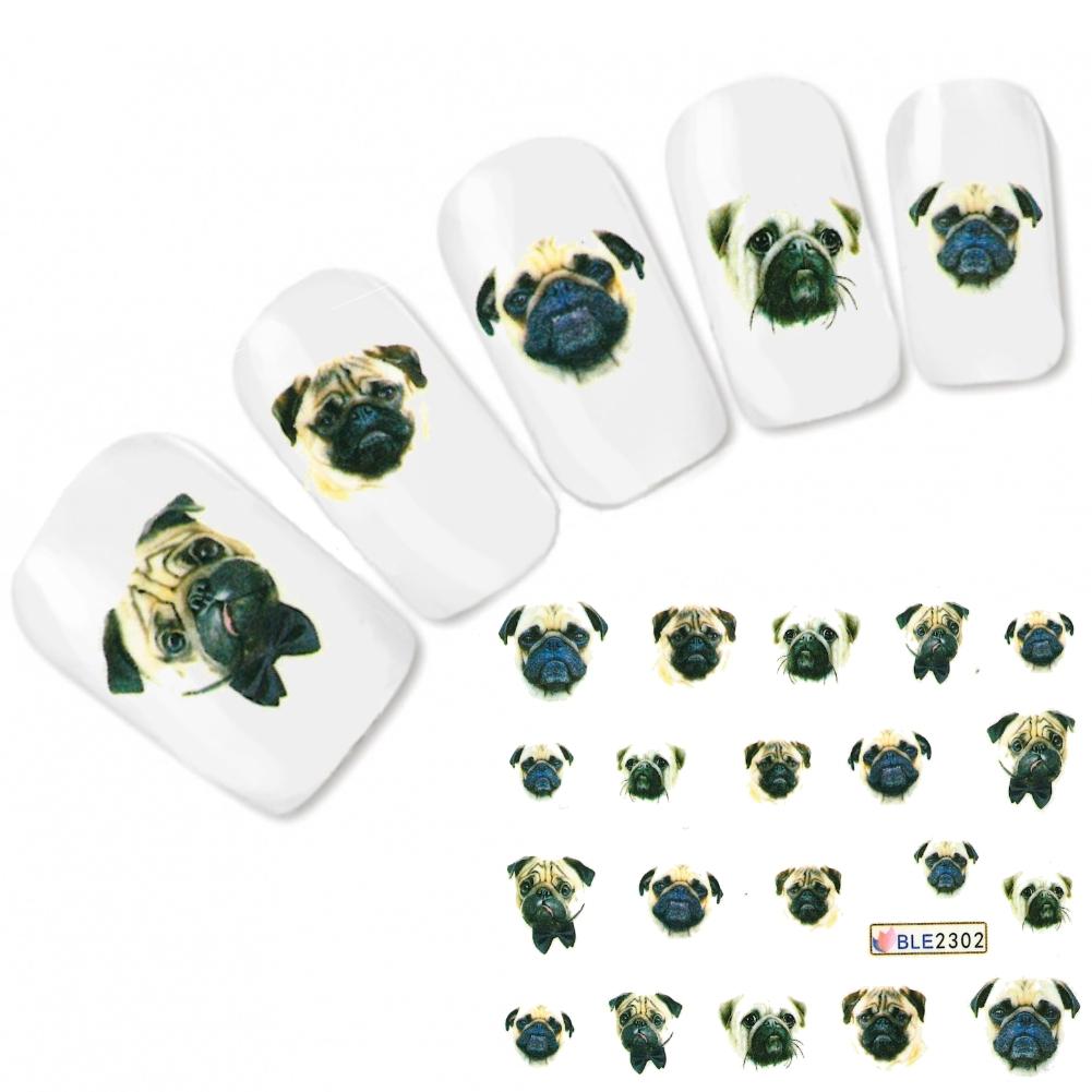 Tattoo Nagel Sticker Hund Dog Mops Bulldogge Fuß Nägel Aufkleber ...