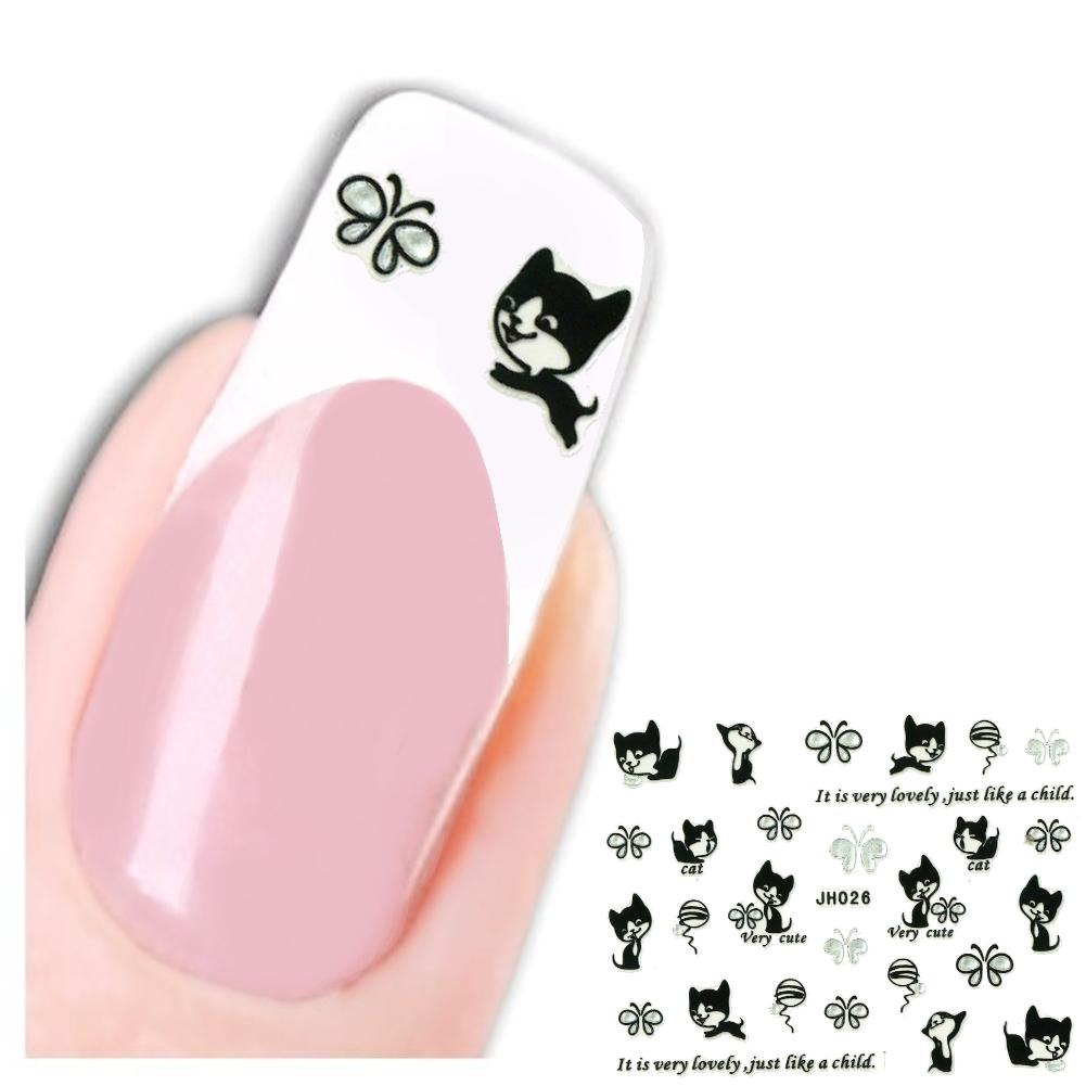3D Nagel Sticker Katze Cute Cat Butterfly Aufkleber Nail Art New ...