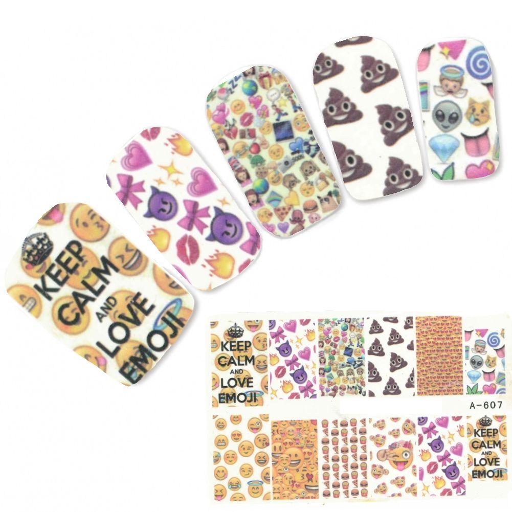 Nagel Sticker Aufkleber Emoji Smiley Nail Art Nägel Fuß Water Decal ...