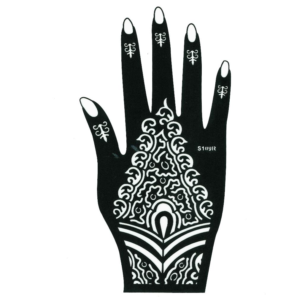 henna tattoo schablone f r die rechte hand der onlineshop f r haarschmuck und viel mehr. Black Bedroom Furniture Sets. Home Design Ideas