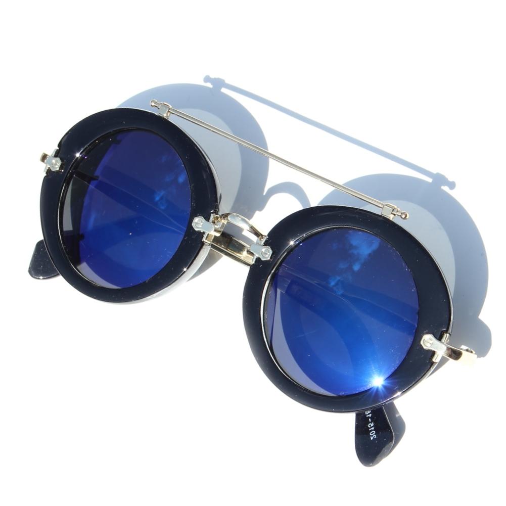 retro sonnenbrille verspiegelt rund mit b gel schwarz. Black Bedroom Furniture Sets. Home Design Ideas