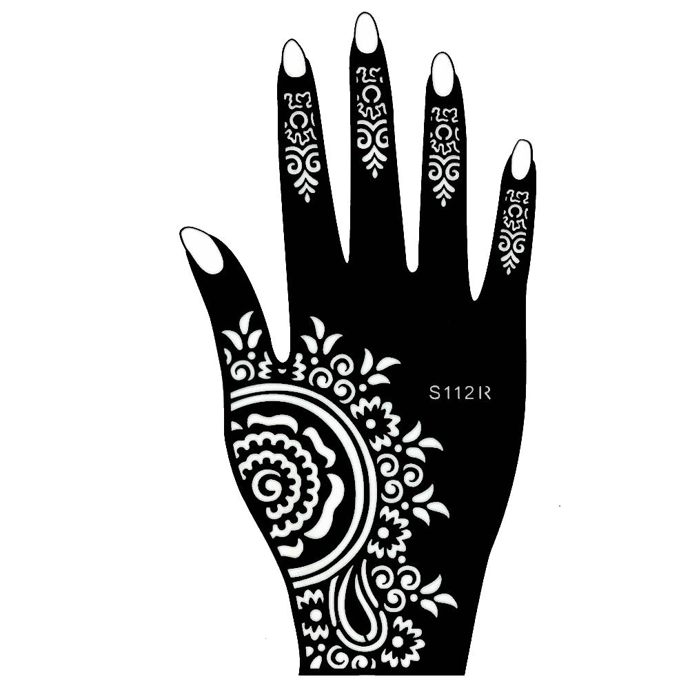 henna tattoo schablone f r die rechte hand. Black Bedroom Furniture Sets. Home Design Ideas