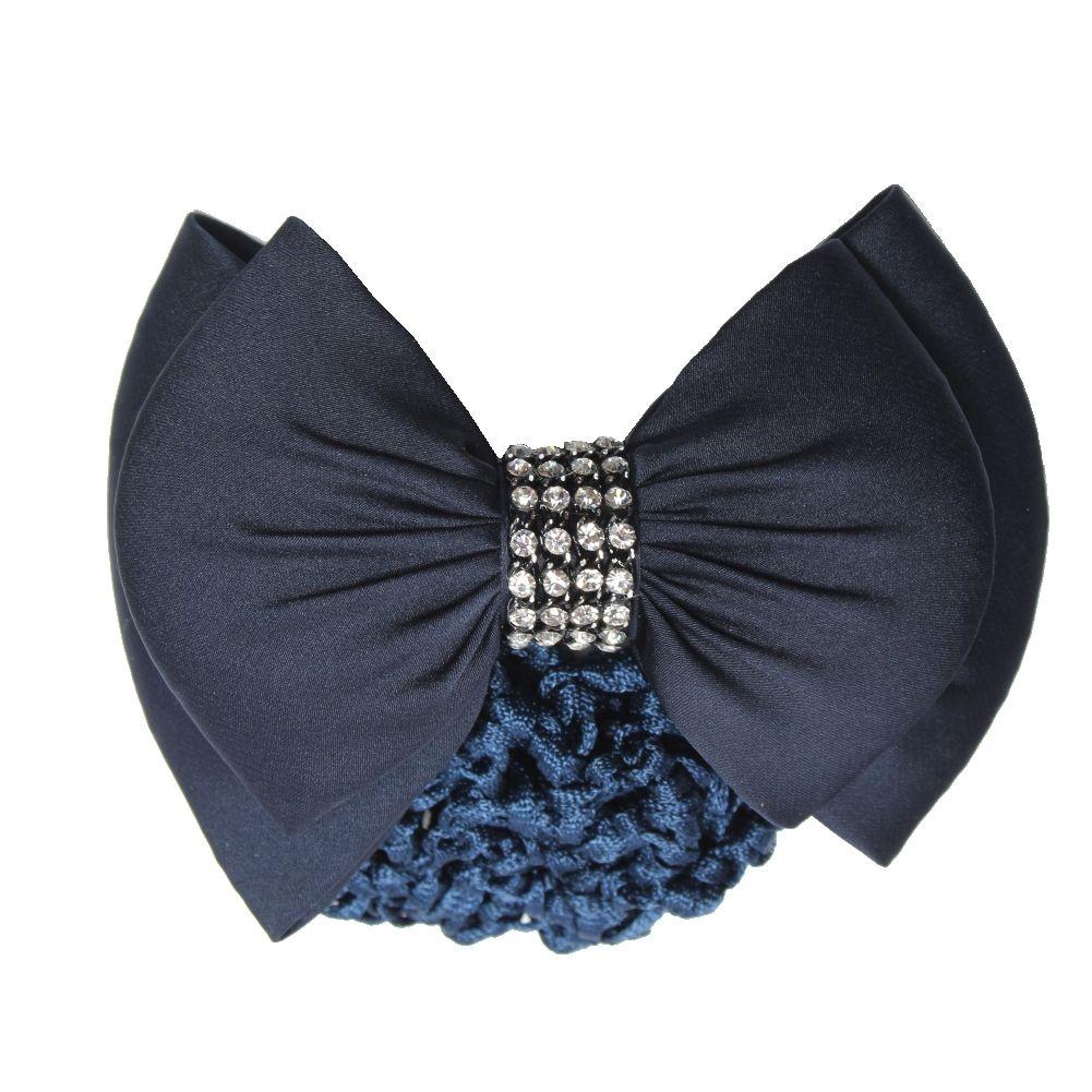 Damen Schleife Dekor franzäsisch Haarklammer Haarspange mit Haarnetz blau