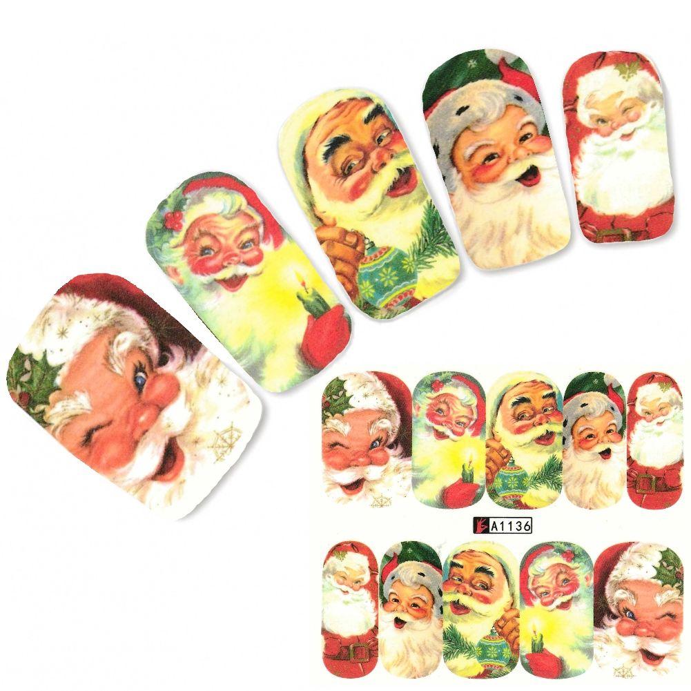 Tattoo Nail Art Weihnachten Weihnachtsmann Aufkleber Nagel Sticker ...