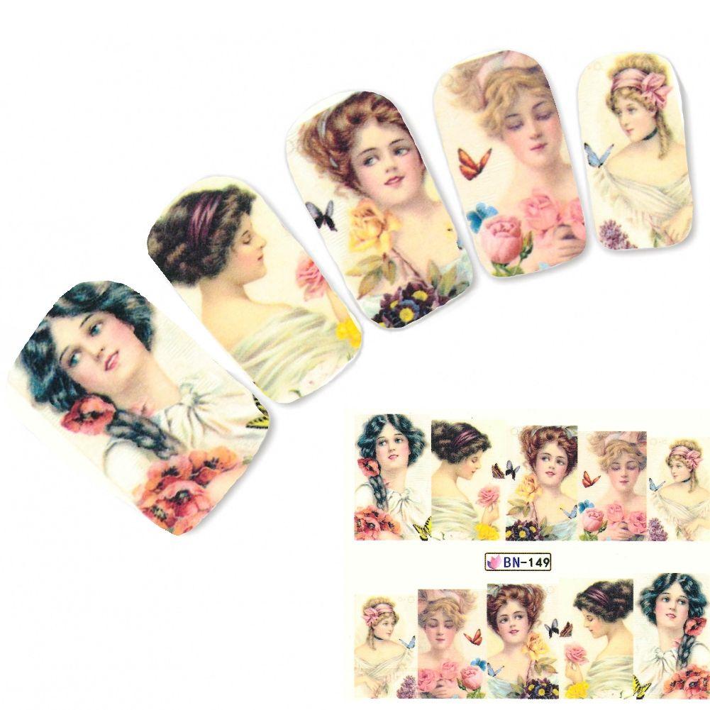 Tattoo Nail Art Dame mit Blumen Barock Aufkleber Nagel Sticker ...