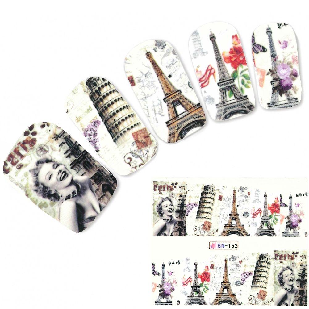 Tattoo Nail Art Eiffelturm Paris Marilyn Aufkleber Nagel Sticker ...