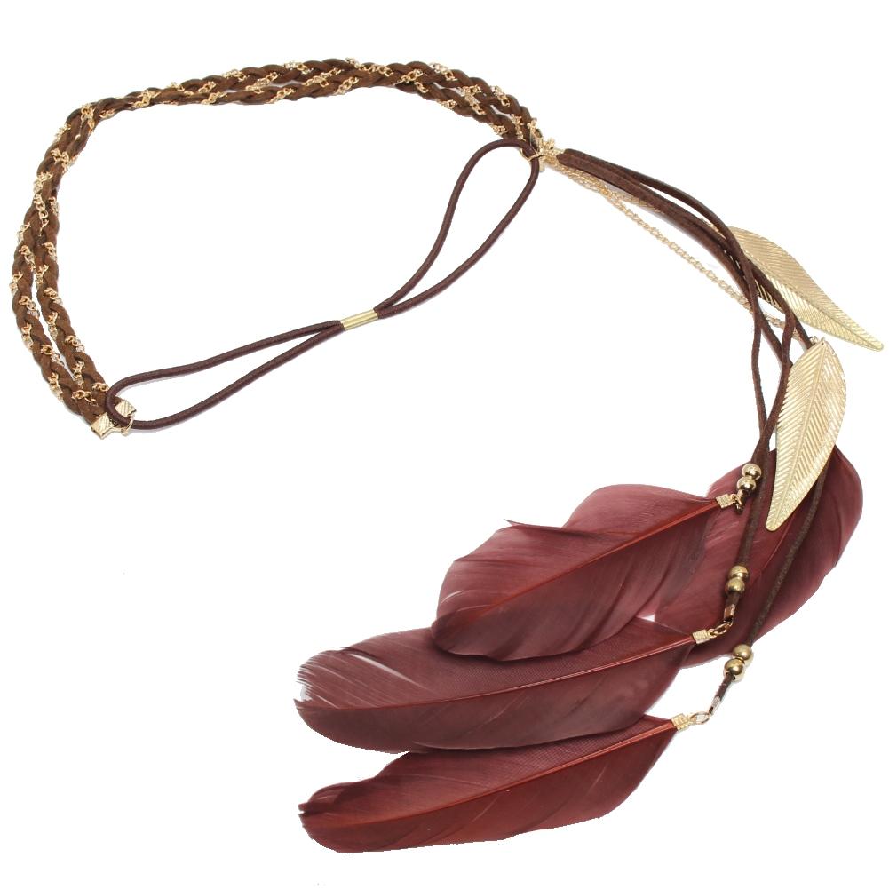 geflochtenes haarband haarkette feder stirnband indianer. Black Bedroom Furniture Sets. Home Design Ideas