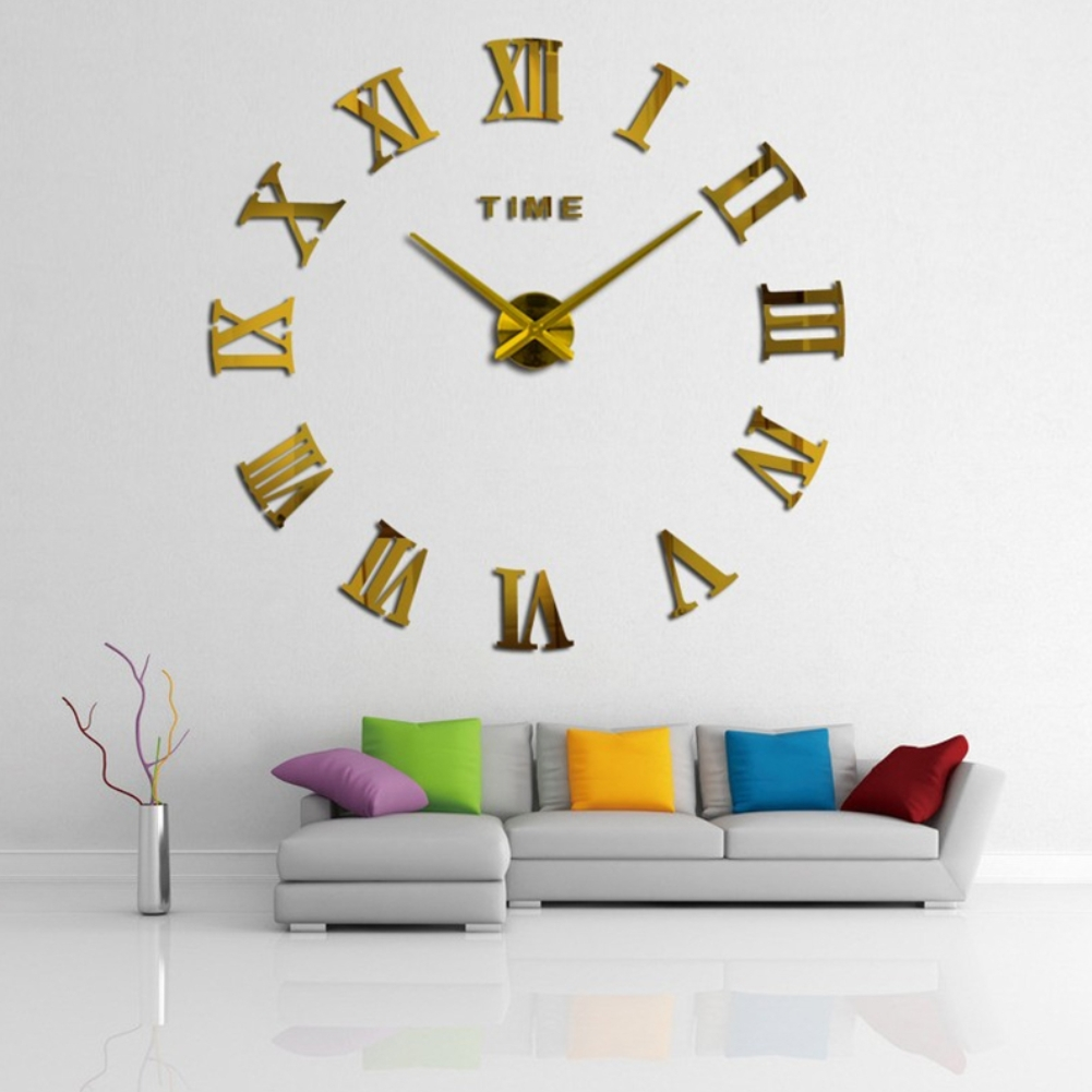 wanduhr xxl deko 3d mit r mischen zahlen in gold der onlineshop f r haarschmuck und. Black Bedroom Furniture Sets. Home Design Ideas
