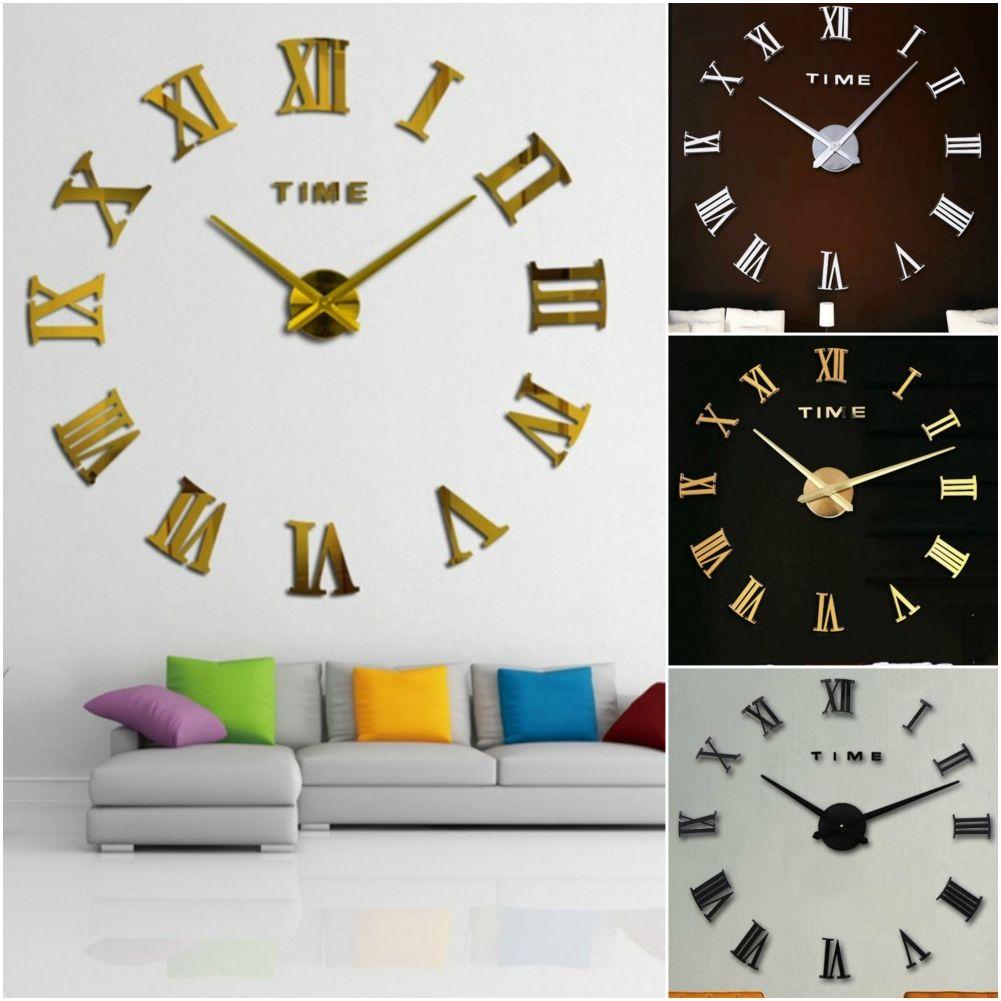designer wanduhr wohnzimmer edelstahl wandtattoo r mische zahlen deko xxl 3d ebay. Black Bedroom Furniture Sets. Home Design Ideas