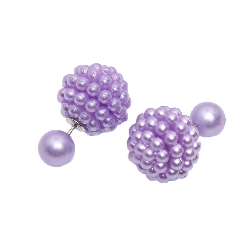 sch ne doppelseitige ohrringe mit perle in 6 farben lila. Black Bedroom Furniture Sets. Home Design Ideas