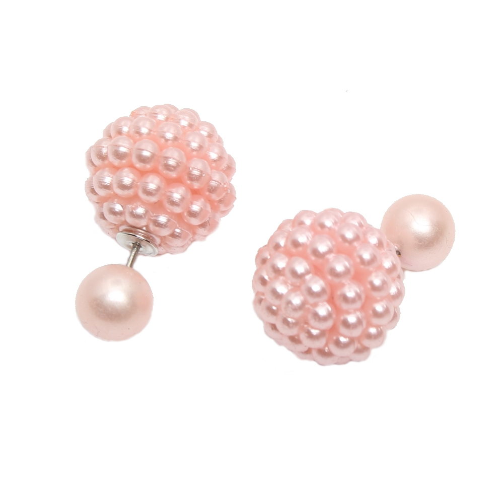 sch ne doppelseitige ohrringe mit perle in 6 farben rosa. Black Bedroom Furniture Sets. Home Design Ideas