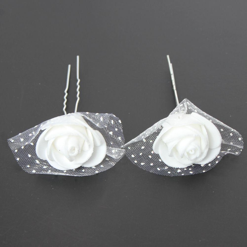 3 weiße Rosen Haarnadeln Braut Kommunion Hochzeit Haarschmuck
