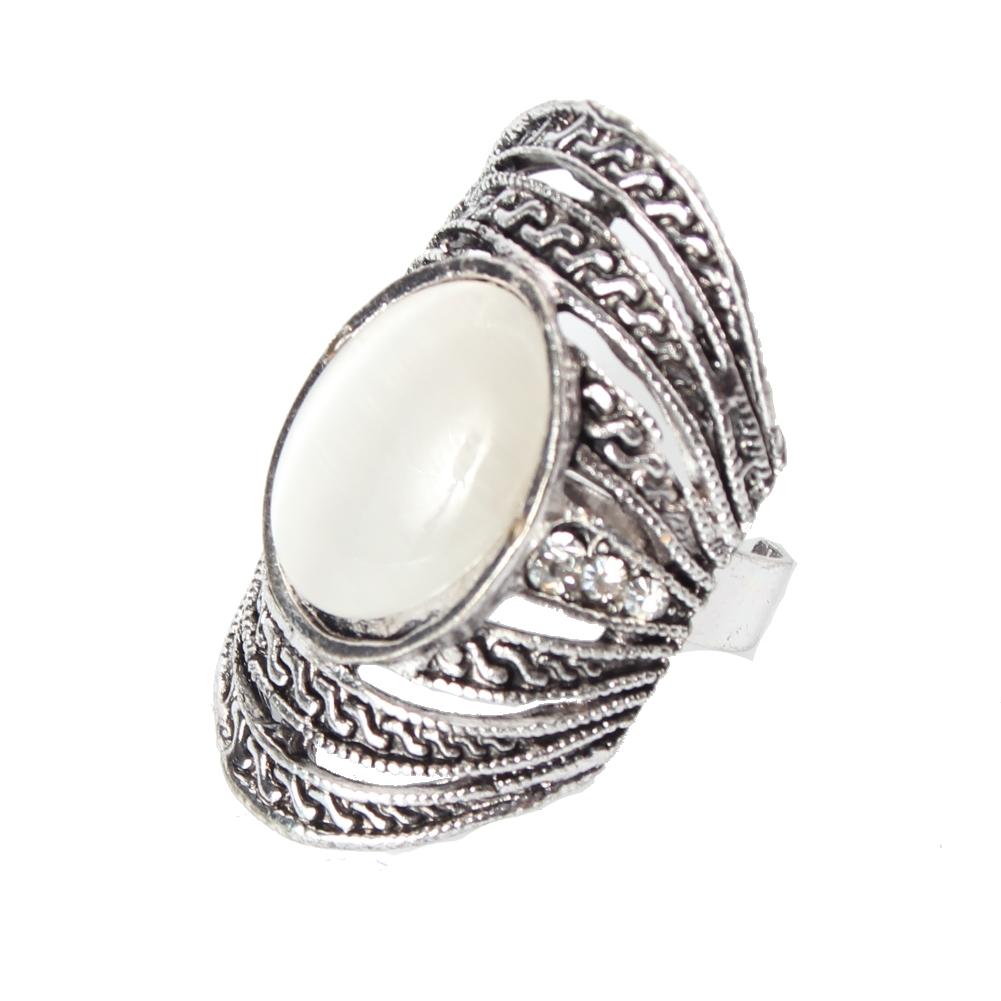 edelstahl ring strass perlen modeschmuck luxus one size ebay. Black Bedroom Furniture Sets. Home Design Ideas